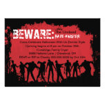 Zombie Red Halloween Party Invitation