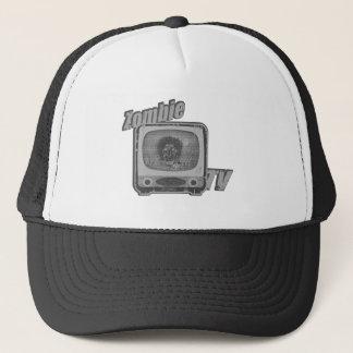 Zombie Retro TV- Black and White Trucker Hat