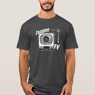 Zombie Retro TV- Style 3 Black & White T-Shirt