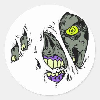 Zombie Rip Through Design Classic Round Sticker