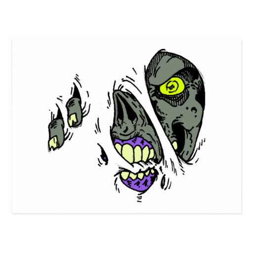 Zombie Rip Through Design Postcard