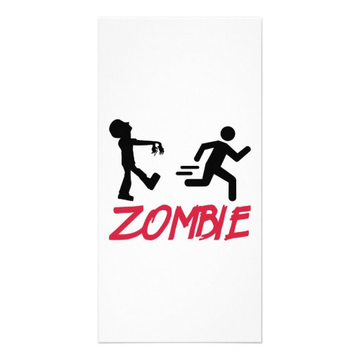 Zombie running person picture card