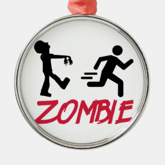 Zombie running person Silver-Colored round decoration