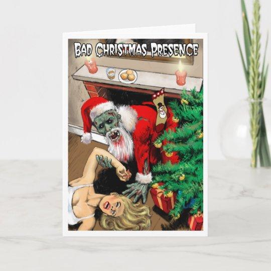 Christmas Zombie Santa.Zombie Santa Christmas Card Blank Interior