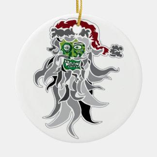 Zombie Santa Claus Round Ceramic Decoration