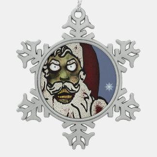 Zombie Santa Pewter Snowflake Decoration