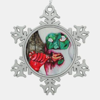 Zombie santa Pewter Snowflake Decoration christmas