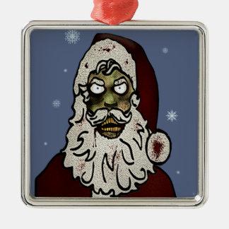 Zombie Santa Silver-Colored Square Decoration
