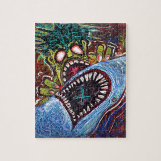 Zombie Shark Fight Jigsaw Puzzle