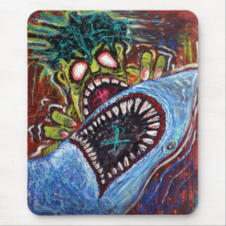 Zombie Shark Fight Mouse Pad