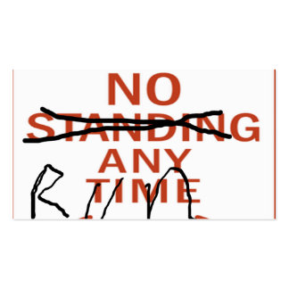 Zombie Sign, No Standing Anytime...Run Pack Of Standard Business Cards