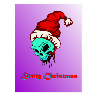 Zombie Skull Christmas Post Card