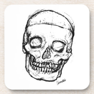 Zombie Skull Drawing 1 Drink Coaster