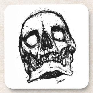 Zombie Skull Drawing 2 Beverage Coasters