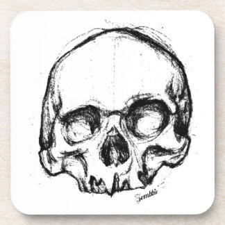 Zombie Skull Drawing 4 Drink Coasters