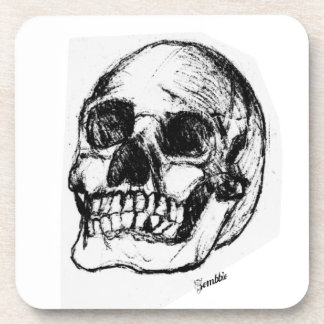 Zombie Skull Drawing 9 Drink Coaster