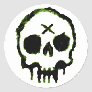 Zombie Skull Round Sticker