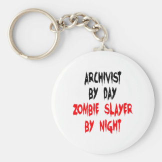 Zombie Slayer Archivist Basic Round Button Key Ring