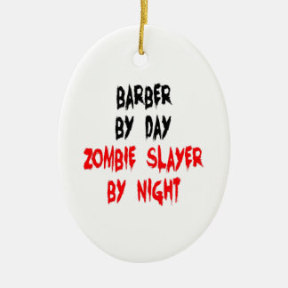 Zombie Slayer Barber Christmas Ornament