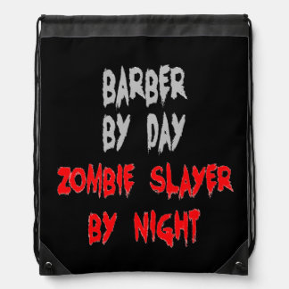 Zombie Slayer Barber Drawstring Bag