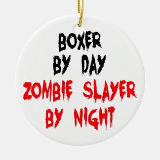 Zombie Slayer Boxer Dog Christmas Ornament