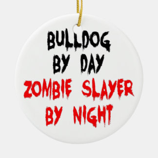 Zombie Slayer Bulldog Christmas Ornament
