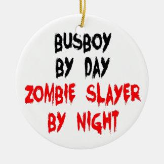 Zombie Slayer Busboy Christmas Tree Ornaments