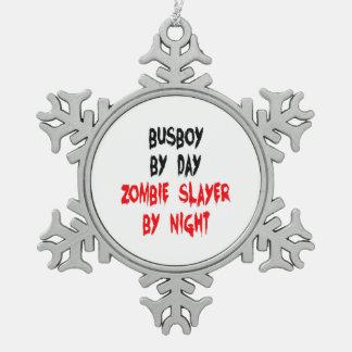 Zombie Slayer Busboy Snowflake Pewter Christmas Ornament