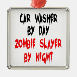 Zombie Slayer Car Washer Silver-Colored Square Decoration