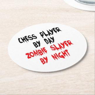 Zombie Slayer Chess Player Round Paper Coaster