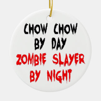 Zombie Slayer Chow Chow Dog Christmas Ornament