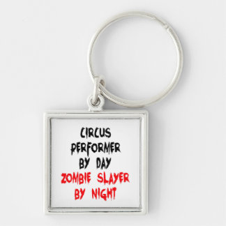 Zombie Slayer Circus Performer Silver-Colored Square Key Ring