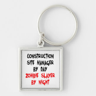 Zombie Slayer Construction Site Manager Silver-Colored Square Key Ring