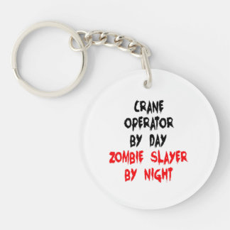 Zombie Slayer Crane Operator Double-Sided Round Acrylic Key Ring