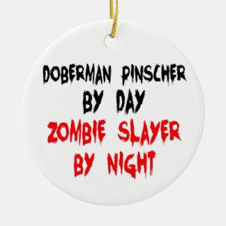 Zombie Slayer Doberman Pinscher Christmas Ornament
