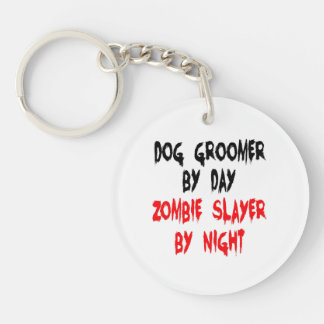 Zombie Slayer Dog Groomer Double-Sided Round Acrylic Key Ring