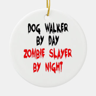 Zombie Slayer Dog Walker Christmas Ornament