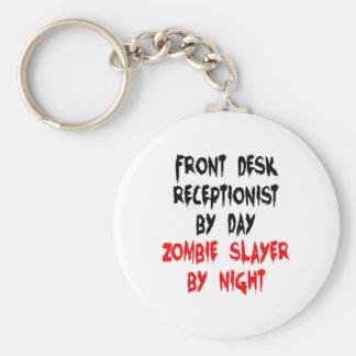 Zombie Slayer Front Desk Receptionist Basic Round Button Key Ring