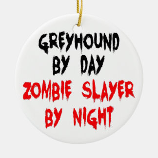 Zombie Slayer Greyhound Dog Christmas Ornament