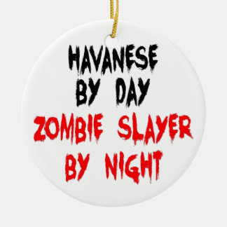 Zombie Slayer Havanese Dog Christmas Ornament