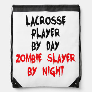 Zombie Slayer Lacrosse Player Drawstring Bag