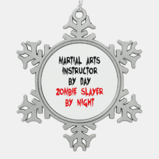 Zombie Slayer Martial Arts Instructor Snowflake Pewter Christmas Ornament