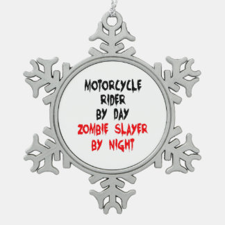 Zombie Slayer Motorcycle Rider Snowflake Pewter Christmas Ornament