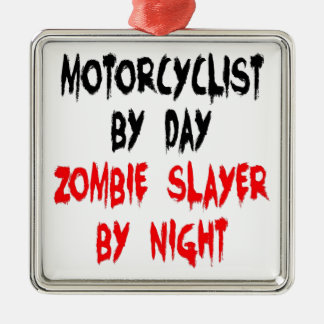 Zombie Slayer Motorcyclist Christmas Ornament