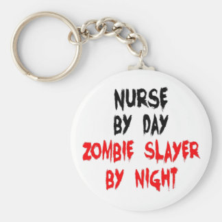 Zombie Slayer Nurse Basic Round Button Key Ring