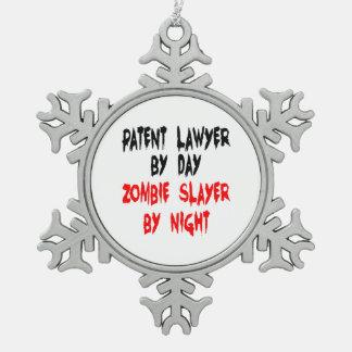Zombie Slayer Patent Lawyer Pewter Snowflake Decoration