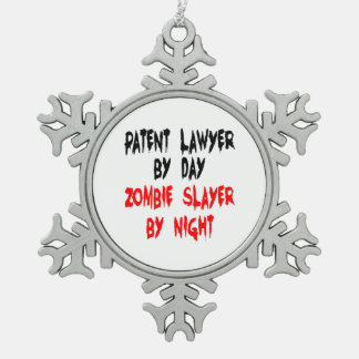 Zombie Slayer Patent Lawyer Snowflake Pewter Christmas Ornament