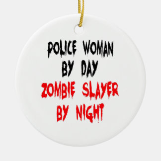 Zombie Slayer Police Woman Christmas Ornament