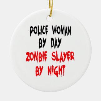 Zombie Slayer Police Woman Round Ceramic Decoration