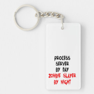 Zombie Slayer Process Server Double-Sided Rectangular Acrylic Key Ring